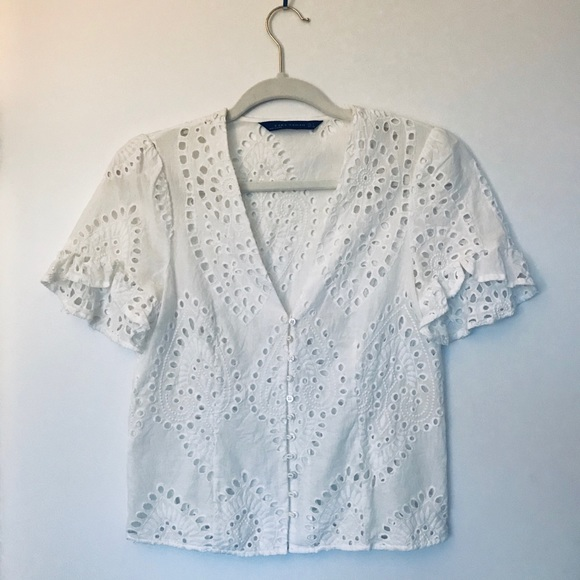c35a896b Zara Tops | Button Up Eyelet Lace Top Small | Poshmark